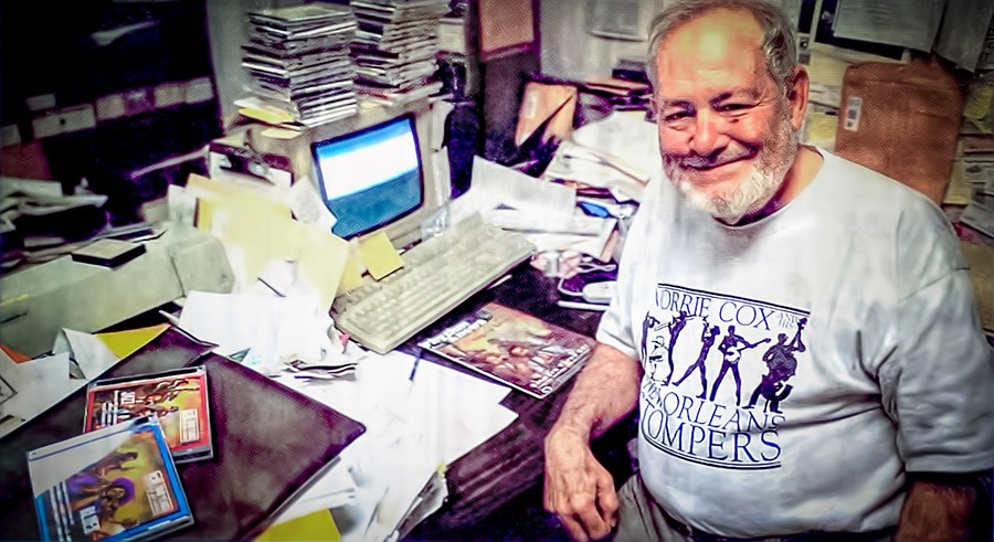 Bob Koester in his Delmark Records office in 2003