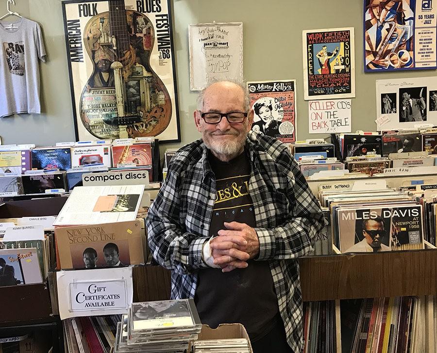 Bob Koester at Bob's Blues & Jazz Mart in 2018