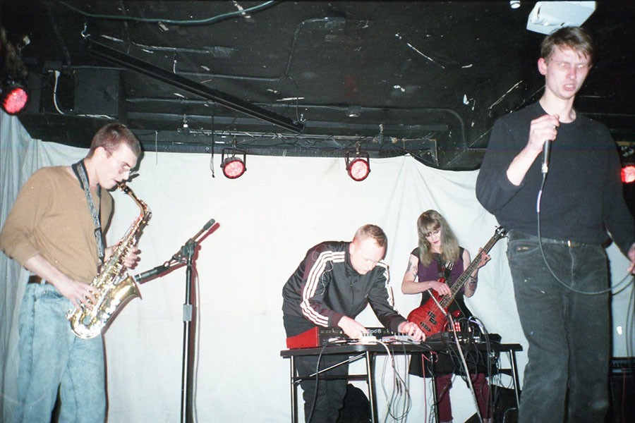 Blake Karlson (second from left) performs with Civic Center, whose lineup also includes musicians who record solo as Hen of the Woods and Understudy.
