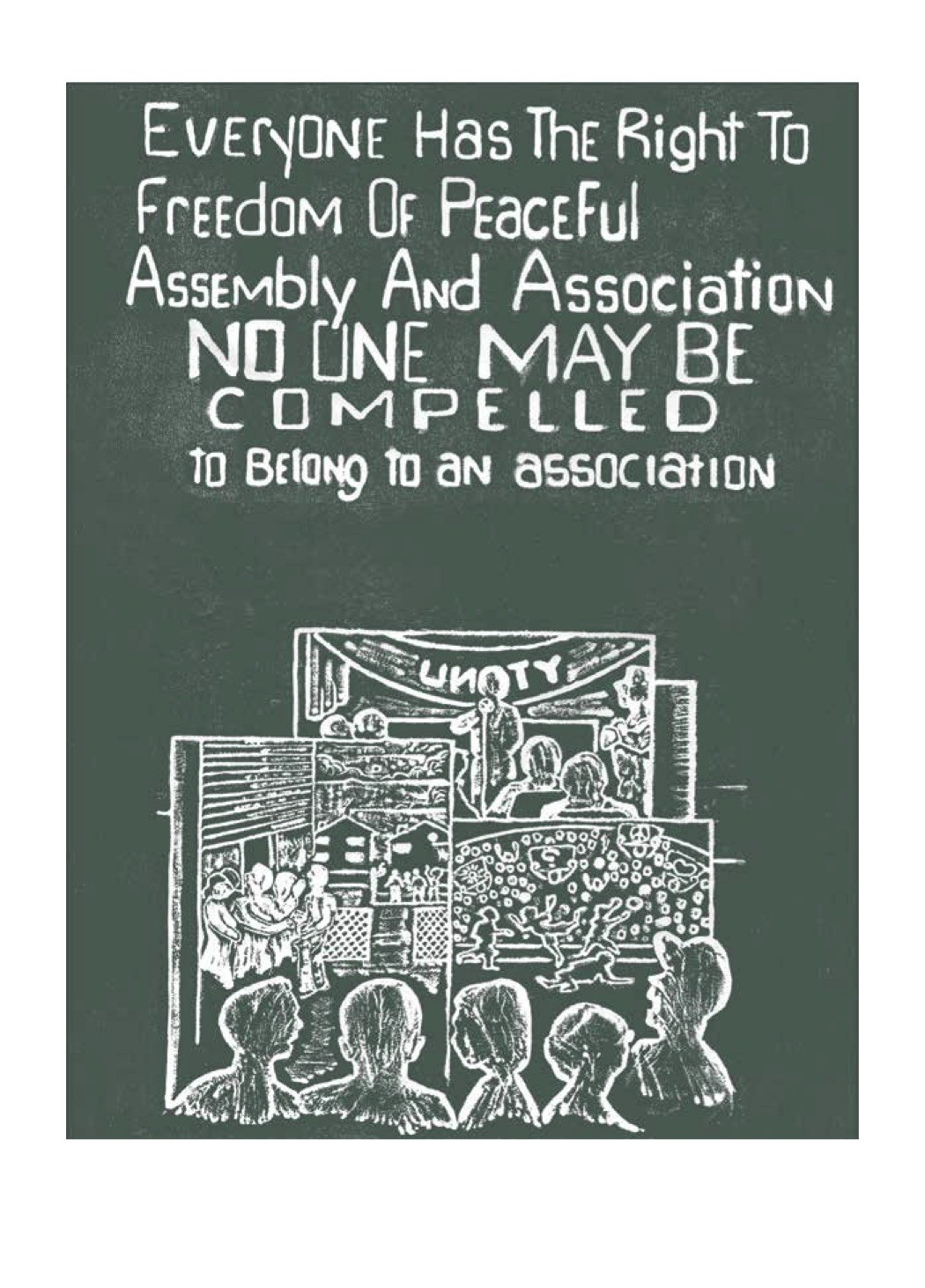 Charles McLaurin's illustration of UDHR Article 20 as seen in <i>Carving Out Rights</i>