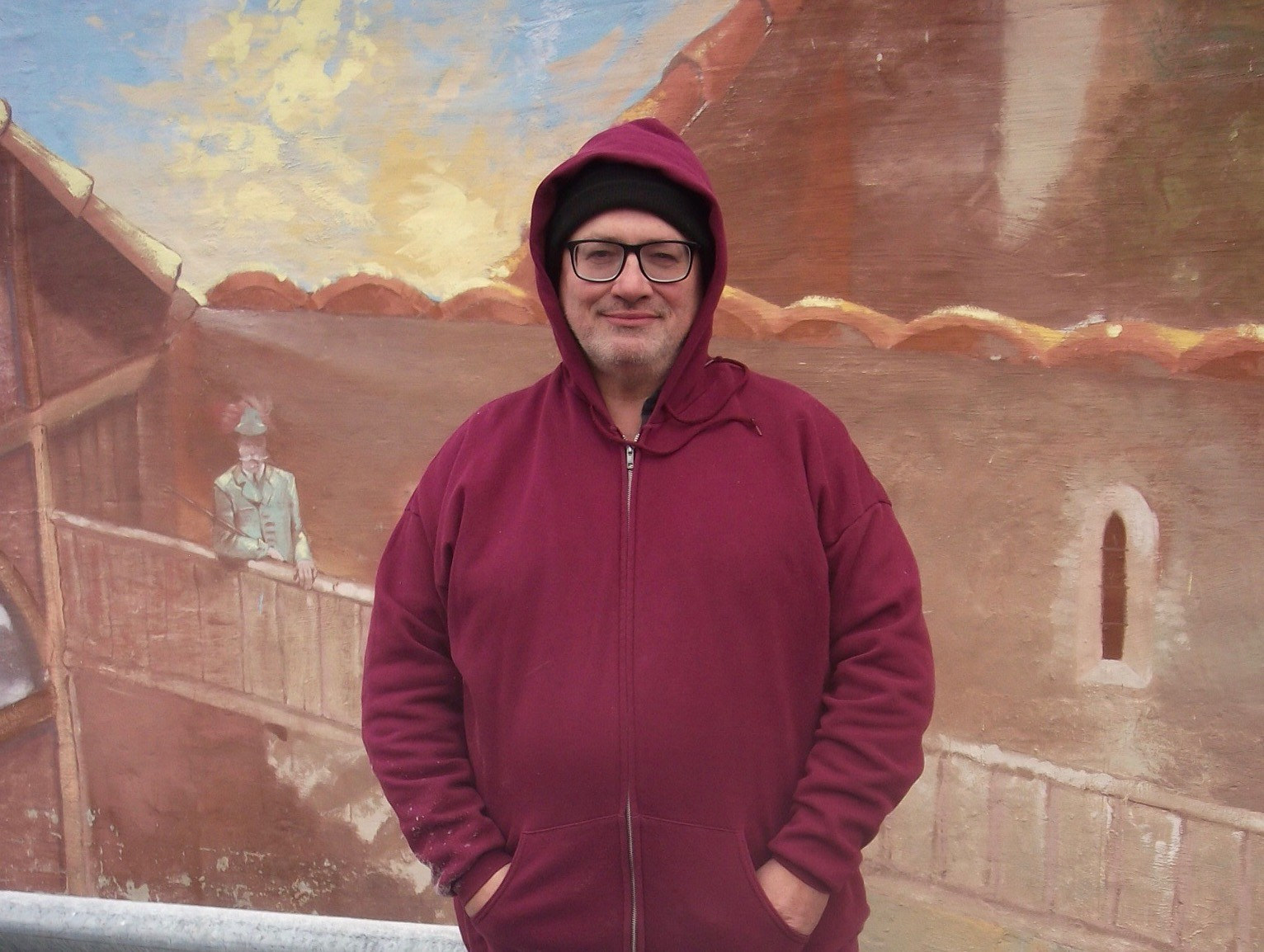 Lothar Speer in front of <i>A Touch of Europe: Memories of Germany</i> in February