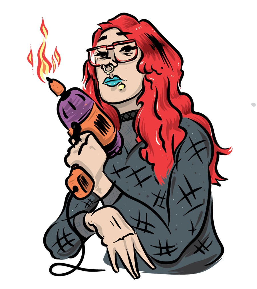Angel Marcloid of Fire-Toolz may very well play a flaming power drill. It's a trade secret.