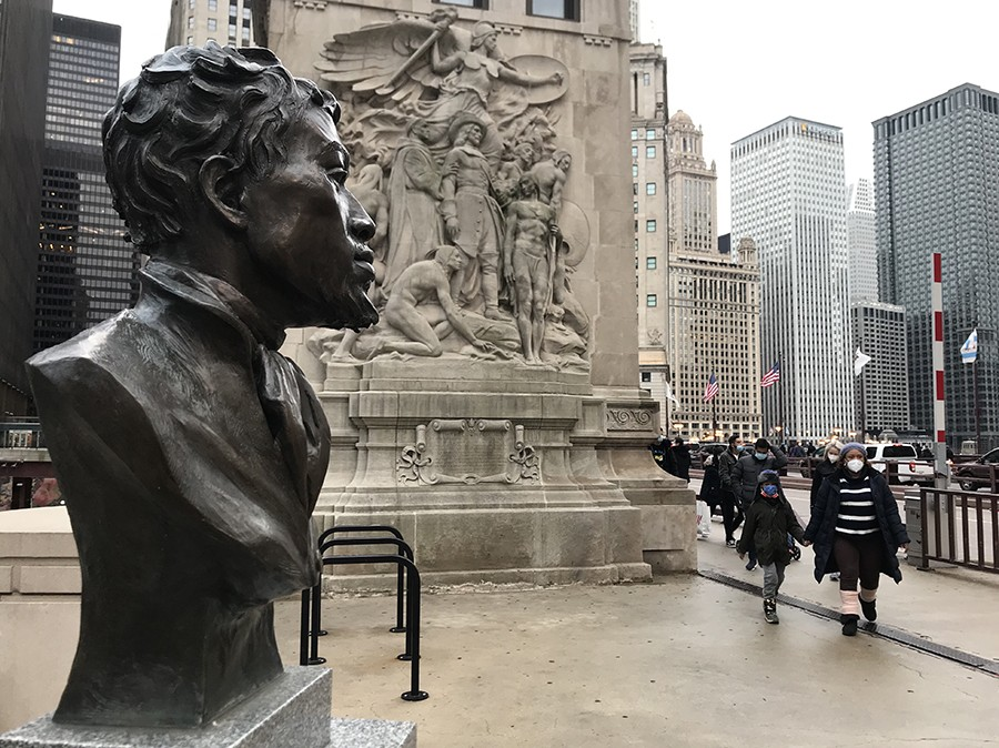 Another view of the DuSable bust