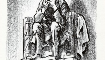 Bill Mauldin's cartoon of a grieving Lincoln, published after the assassination of John F. Kennedy