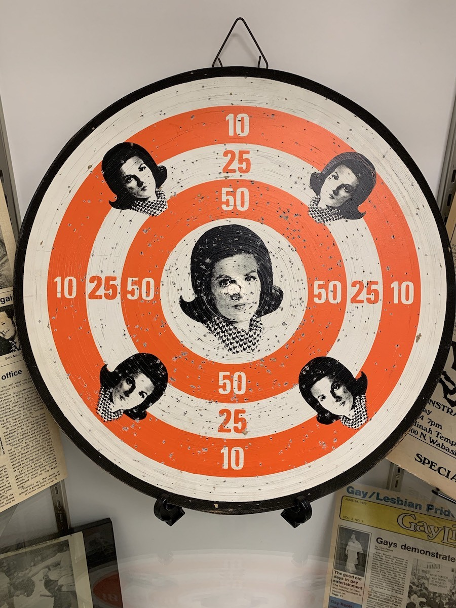 A dart board bearing the image of Anita Bryant's face, sold in response to her anti-gay campaign