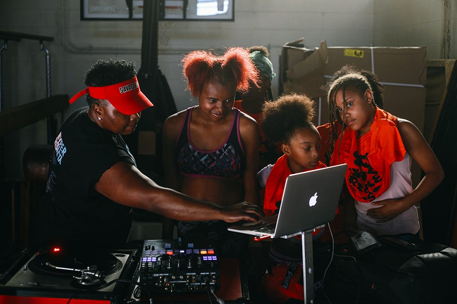DJ and producer Jana Rush teaches campers how to spin on Circle Up's last day at Robert Taylor Park.