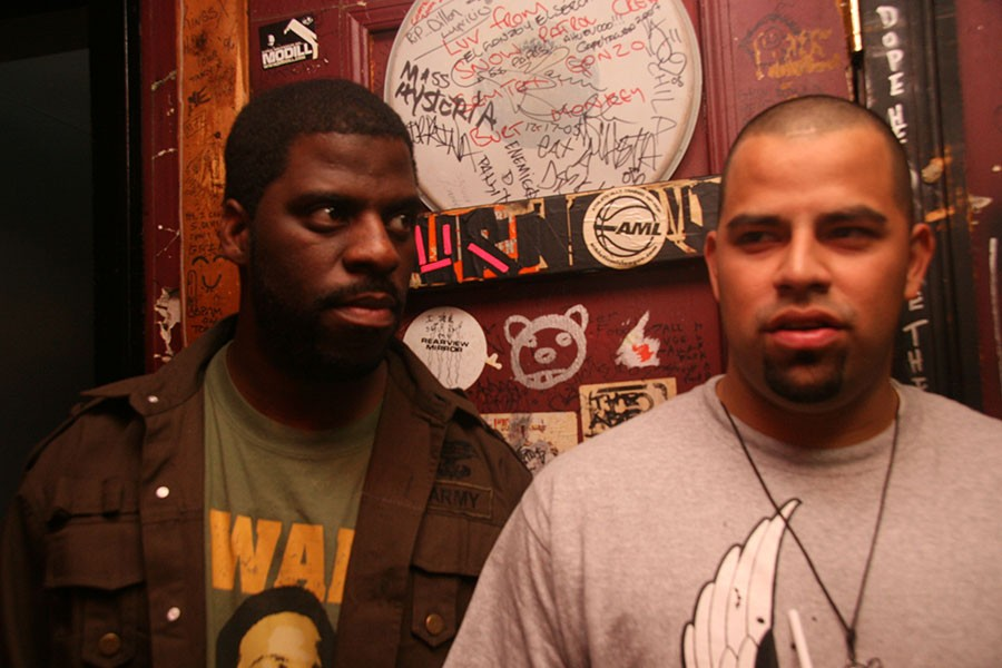 """Che """"Rhymefest"""" Smith and Andre """"Prime"""" Vasquez at Metro in 2007 for the Molemen's Chicago Rocks festival"""