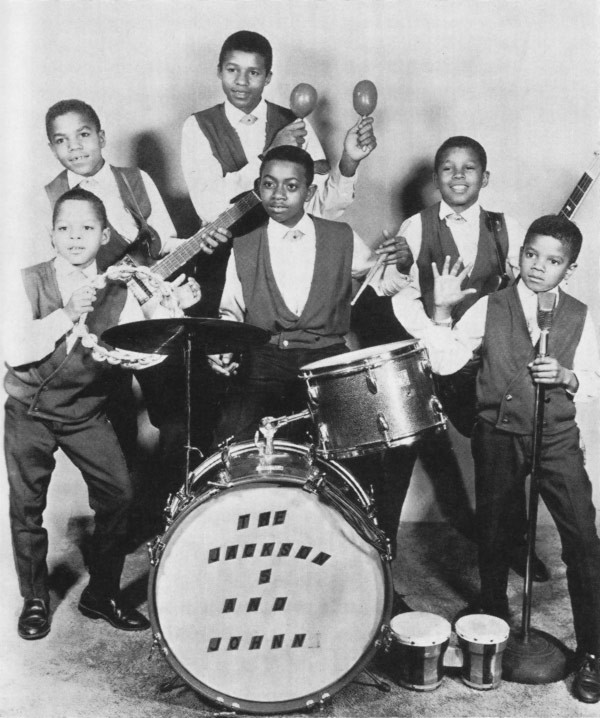 The Jackson Five: Marlon, Tito, Jackie, Jermaine, and Michael, with Johnny Jackson (no relation) on drums