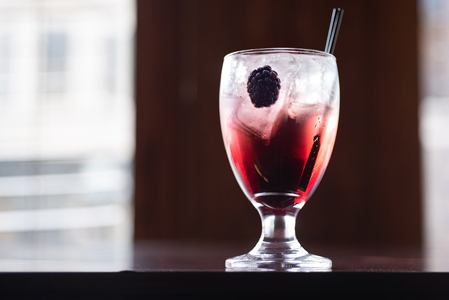 One of the cocktails built around Serbian fruit brandies; this one features King Zebra, quince brandy, gin, blackberry wine, simple syrup, and lemon.