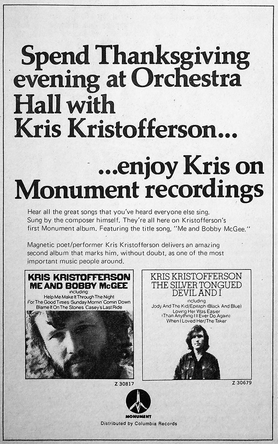 Kris Kristofferson ad from October 22, 1971