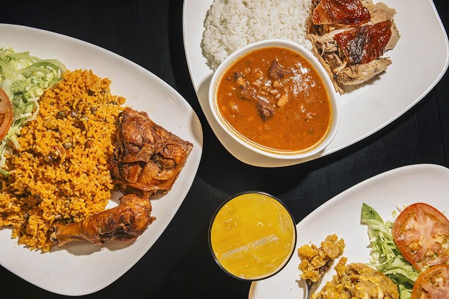 From left: <i>Arroz con gandules, pollo frito, lechon con arroz blanco</i>
