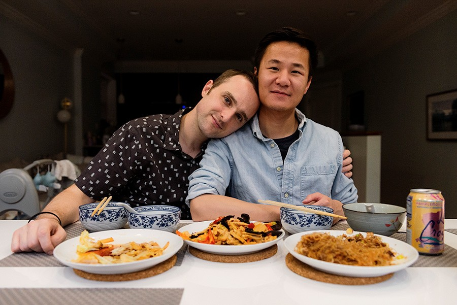 Greene and Zhou in their home