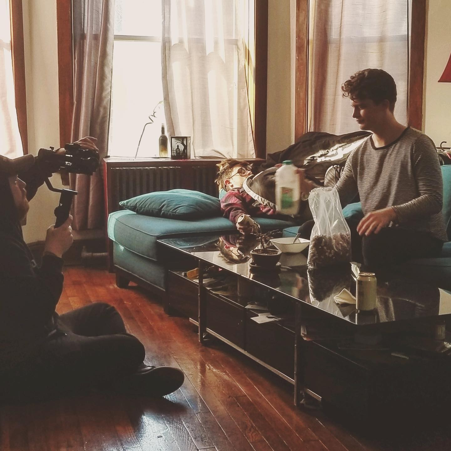 """Videographer and director Alex Zarek films Ramage and Wentworth for the """"Porn and Fame"""" video."""