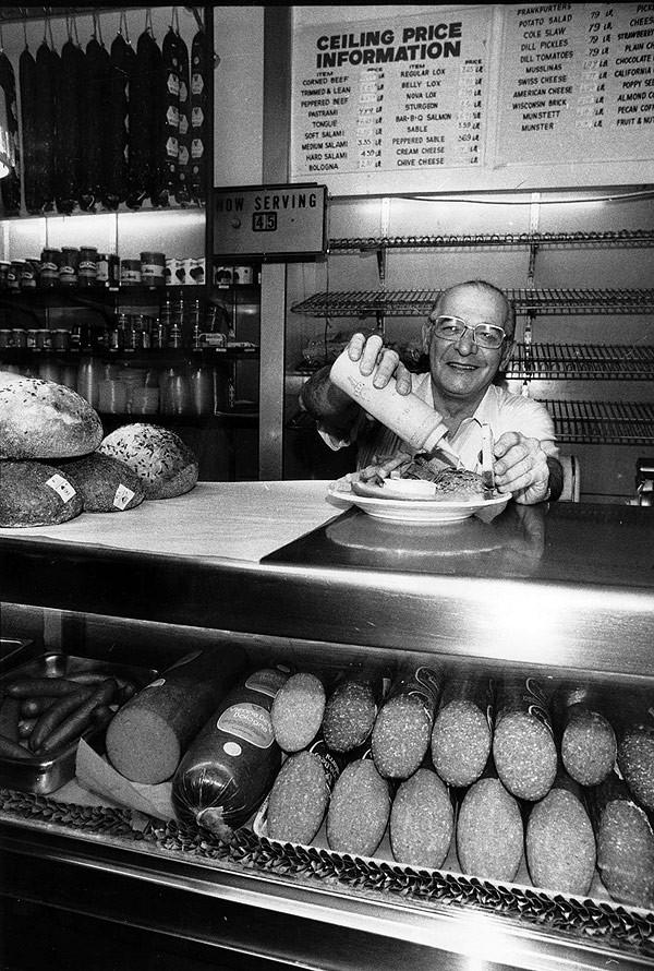 Sam Ashkenaz at his delicatessen on Morse in 1976