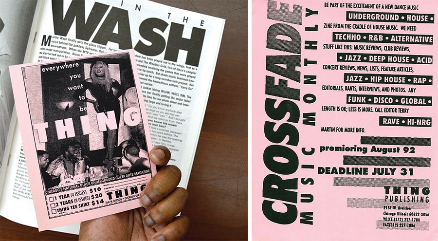 A subscription card tucked into an issue of <i>Thing</i>; Terry Martin's handbill soliciting pitches for the first <i>Crossfade</i> in 1992