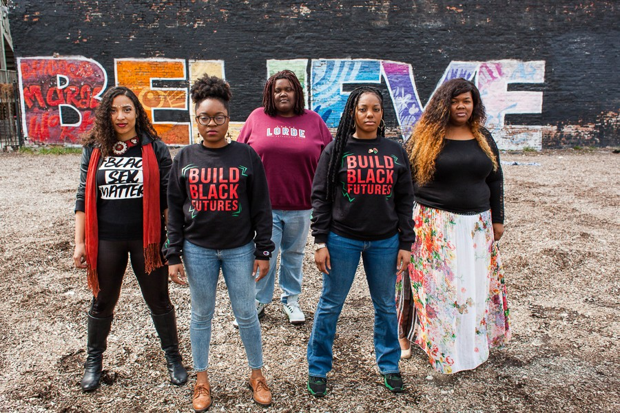 From left: Kristiana Colón, Charlene Carruthers, Rachel Williams, Janaé Bonsu, and Veronica Morris-Moore, five queer black women activists shaping Chicago politics