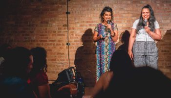 Sonal Aggarwal and Karmen Naidoo hosting the first live <i>Gimme the Light</i> in Chicago