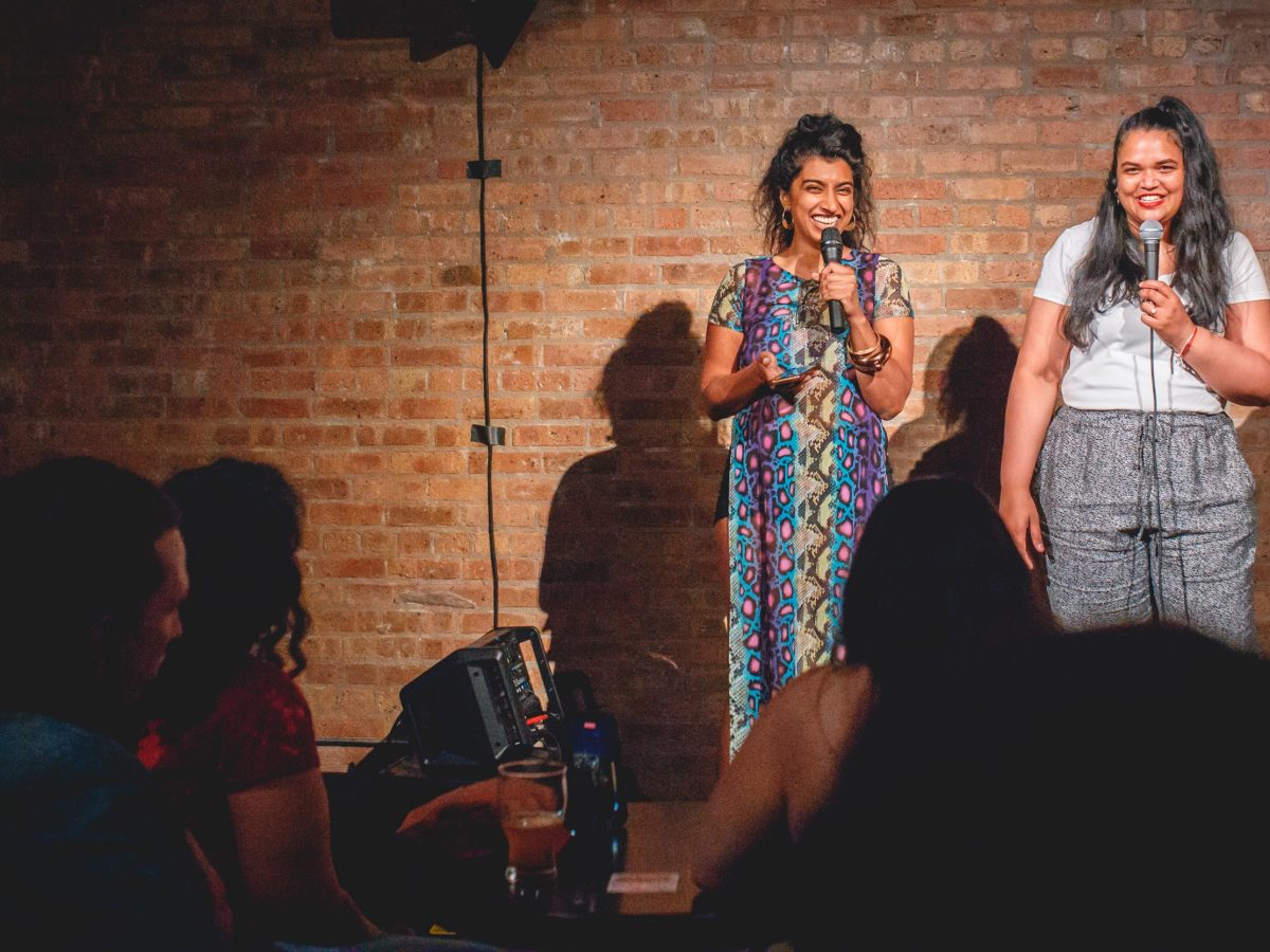Sonal Aggarwal and Karmen Naidoo hosting the first live Gimme the Light in Chicago
