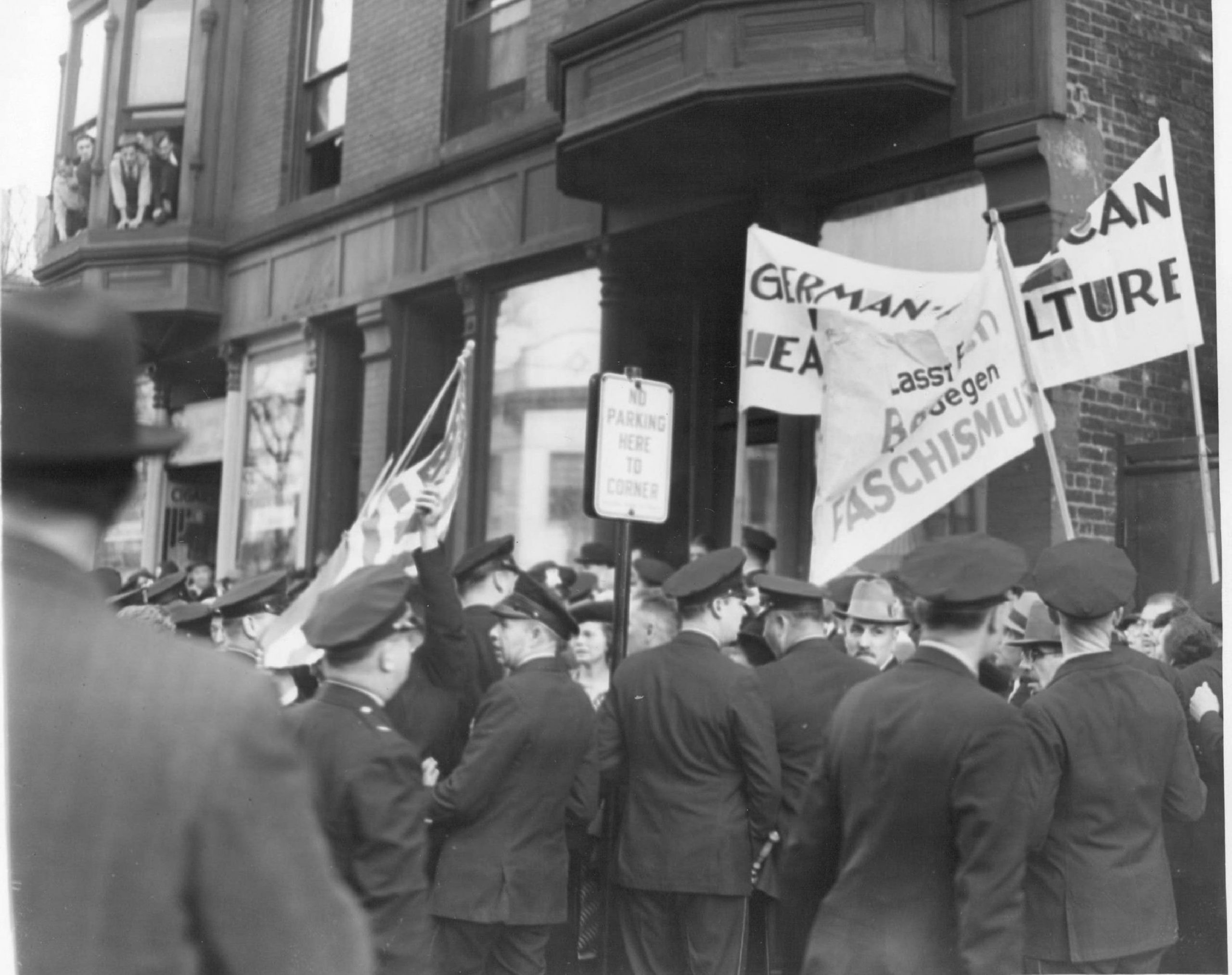 Police hold back demonstrators at a Bund rally at Lincoln Turner Hall at Diversey and Sheffield in October 1938. The Bund was bitterly opposed not only by the groups it had sought to eliminate from American society, but also by most German-Americans, the vast majority of whom wanted nothing to do with the Bund.