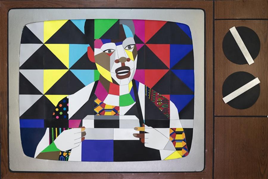 Derrick Adams's multimedia work is on display at Rhona Hoffman Gallery.