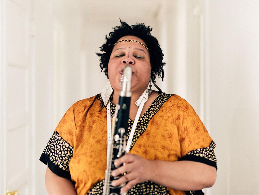 Angel Bat Dawid and her bass clarinet