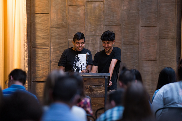 Mauricio Muñoz and Ivan Perez read aloud from their letters to each other