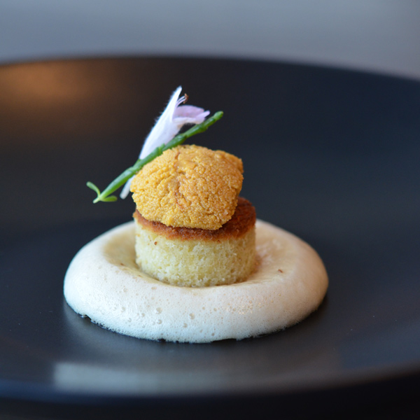 A velvety tongue of uni is perched on a cylinder of brioche surrounded by a moat of foamed yuzu vinaigrette.