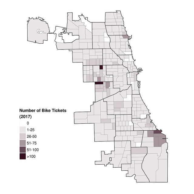 The maps show the number of tickets written for biking on the sidewalk, by Chicago Police beat