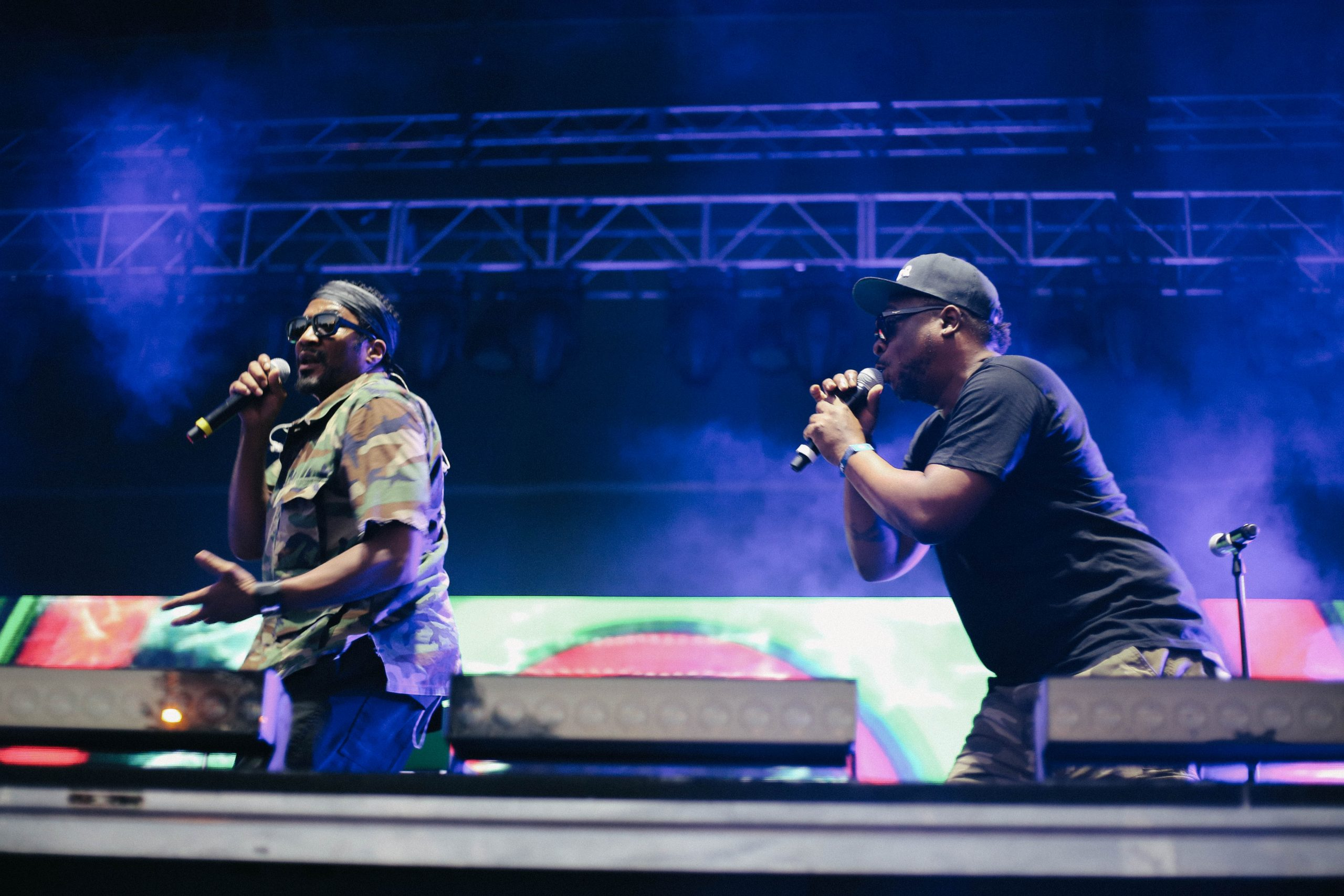 Q-Tip and Jarobi White with Phife Dawg's mike stand