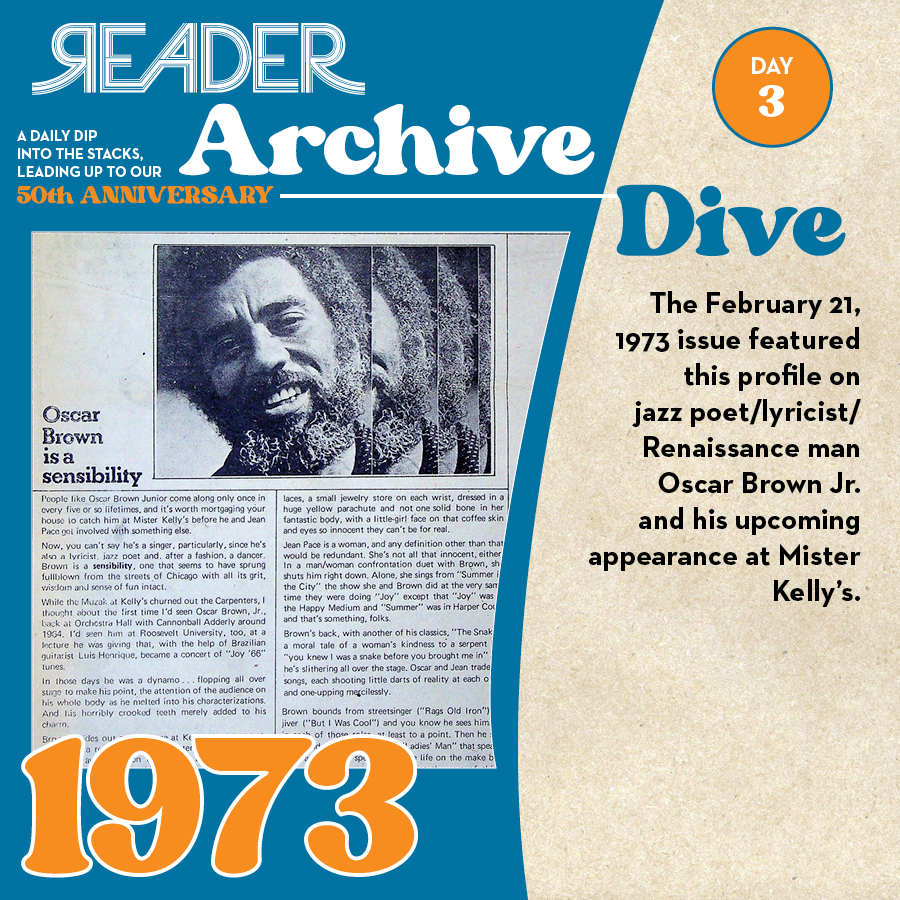1973: The February 21, 1973 issue featured this profile on jazz poet/lyricist/Renaissance man Oscar Brown Jr. and his upcoming appearance at Mister Kelly's.