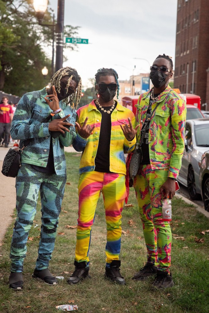 JakexSolo, LILBOYROC, and Yé of the group Slime World at the Lyrical Lemonade Summer Smash during the evacuation of Douglass Park for extreme weather