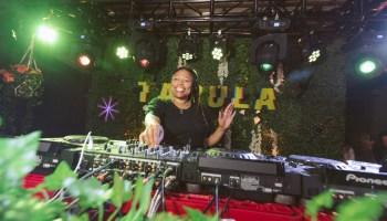 DJ Lady D spins records at an event called Tabula Rasa