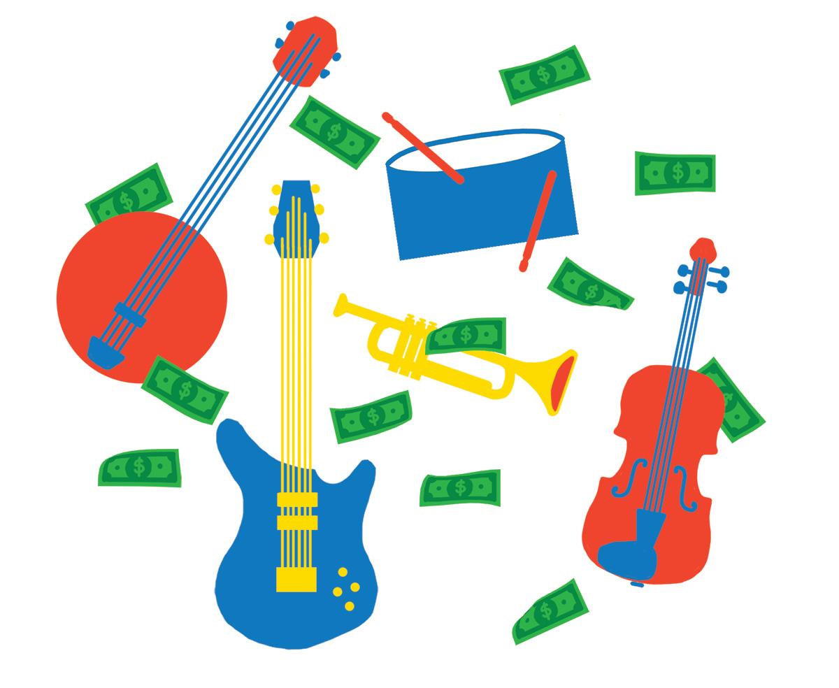 Dollar bills raining down on illustrated instruments