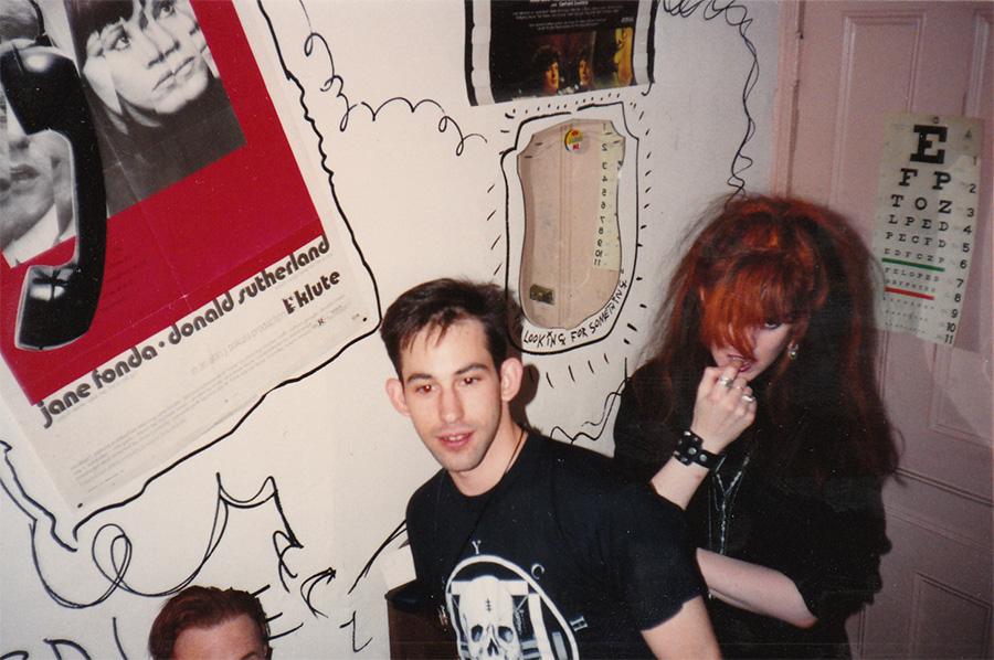 Bruce LaBruce's forehead, Mark Freitas, and G.B. Jones at Jones's Toronto apartment