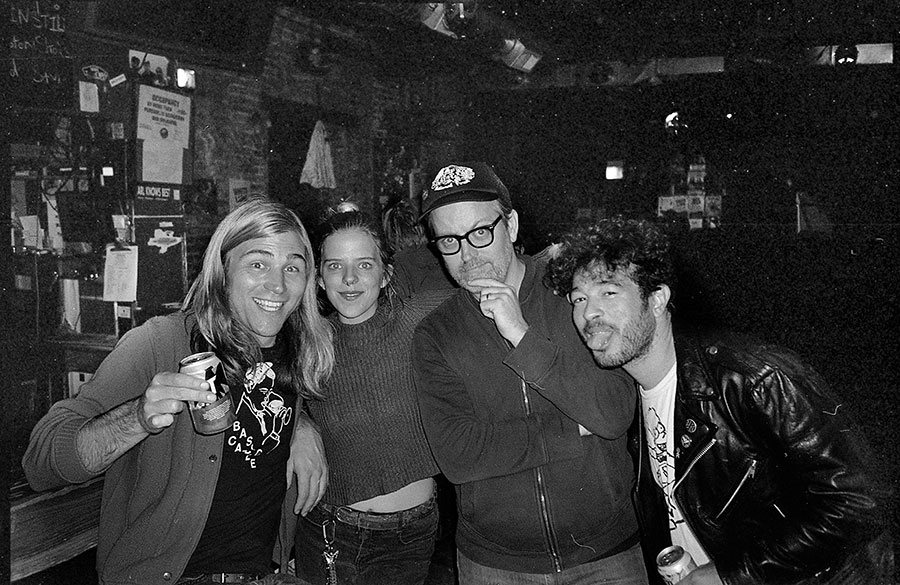 Alejandro at the Empty Bottle (far right) with Permanent Records co-owner Lance Barresi, Bottle and Bite staffer Ash Dye, and Trouble in Mind cofounder Bill Roe