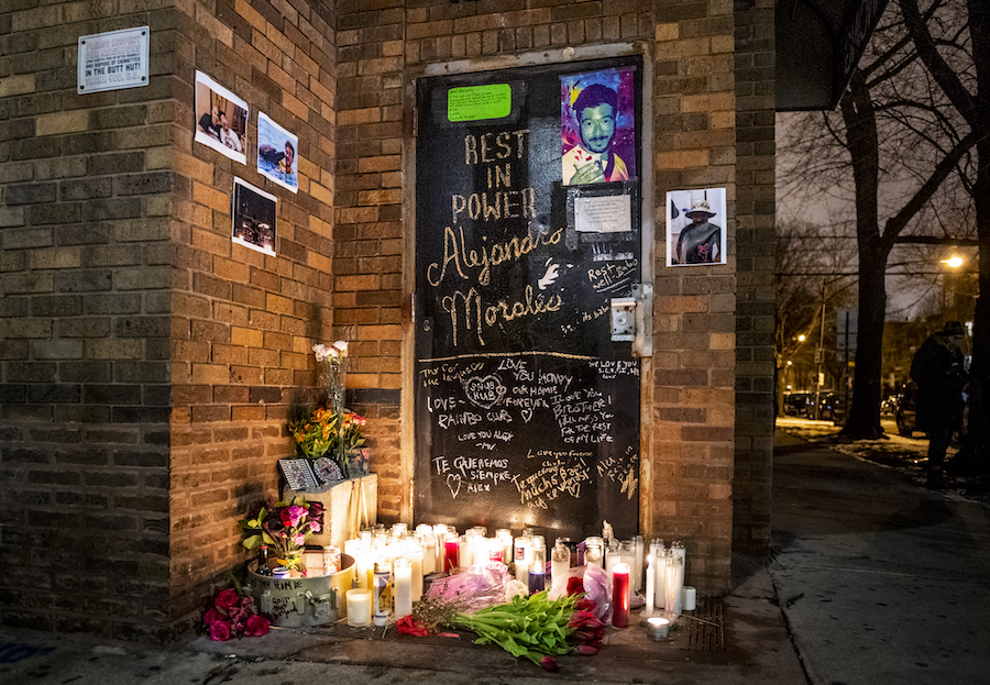 The memorial for Alejandro Morales outside the Empty Bottle