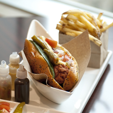 Allium's house-made deconstructed Chicago-style hot dog