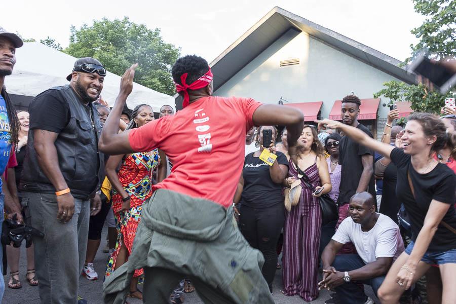 A dance-off to the beats of DJ Jesse de la Peña at the 2017 Silver Room Block Party