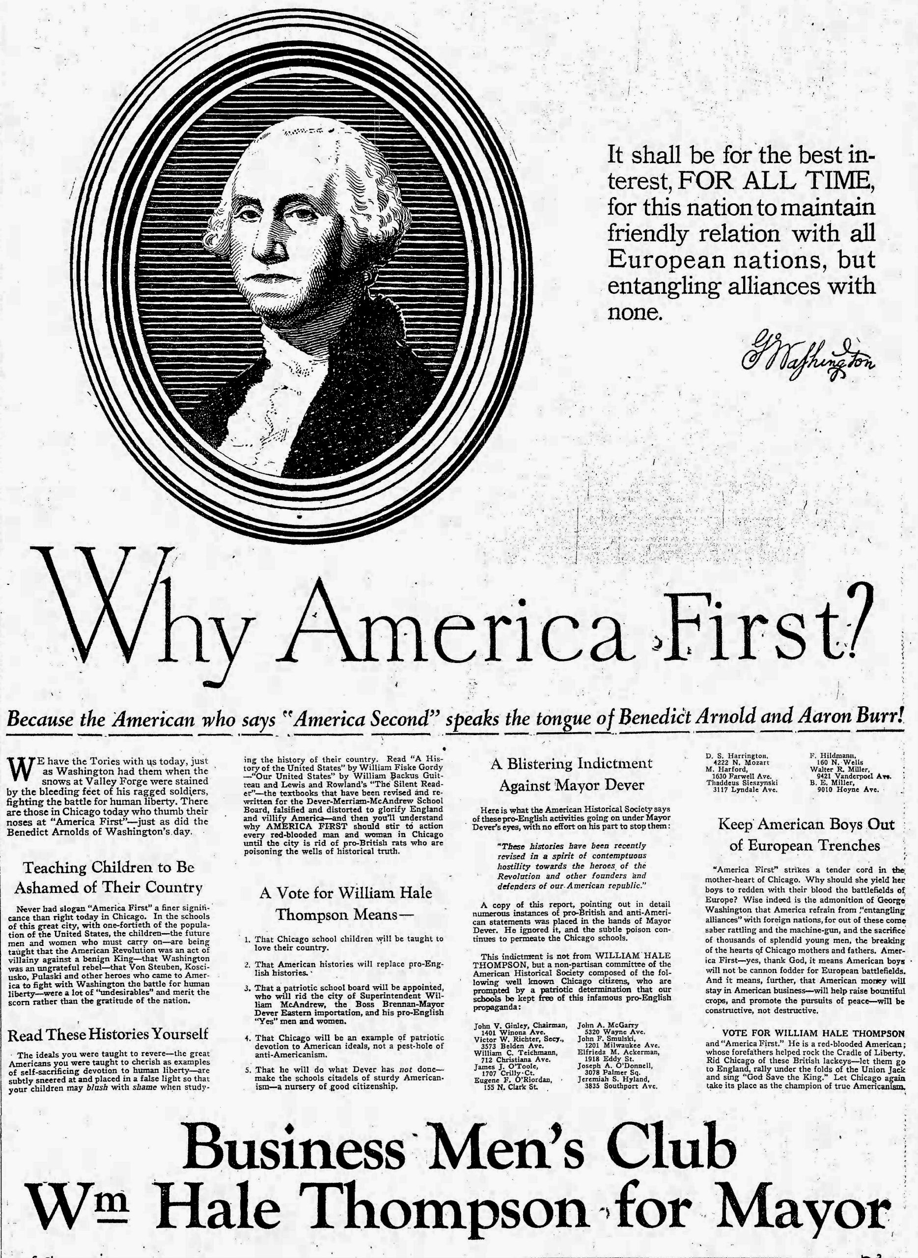 """In a 1927 campaign ad, Big Bill Thompson decried how Chicago schoolchildren were taught that George III was a """"benign king"""" and that George Washington was """"an ungrateful rebel."""""""