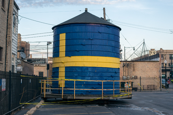 The Swedish American Museum water tank is parked in the institution's lot.