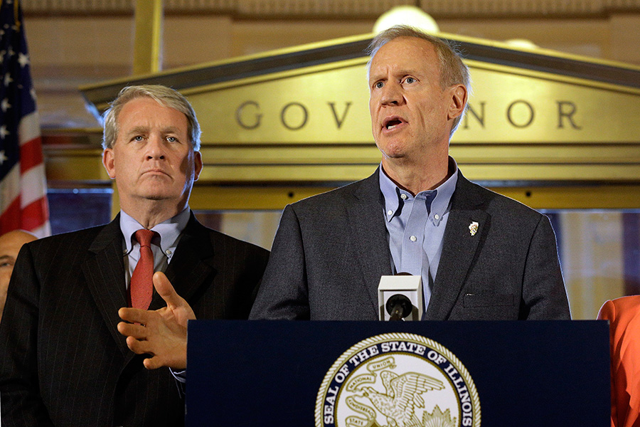 Jim Durkin, left, with Governor Bruce Rauner