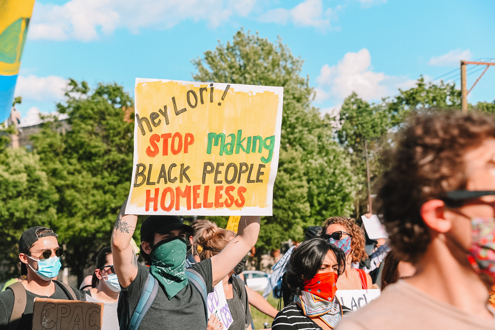 """A protest march at """"Lightfoot's Tent City"""""""