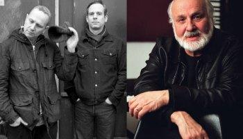 Sam Prekop, left, and John McEntire spoke with pioneering electronic composer Morton Subotnick, far right