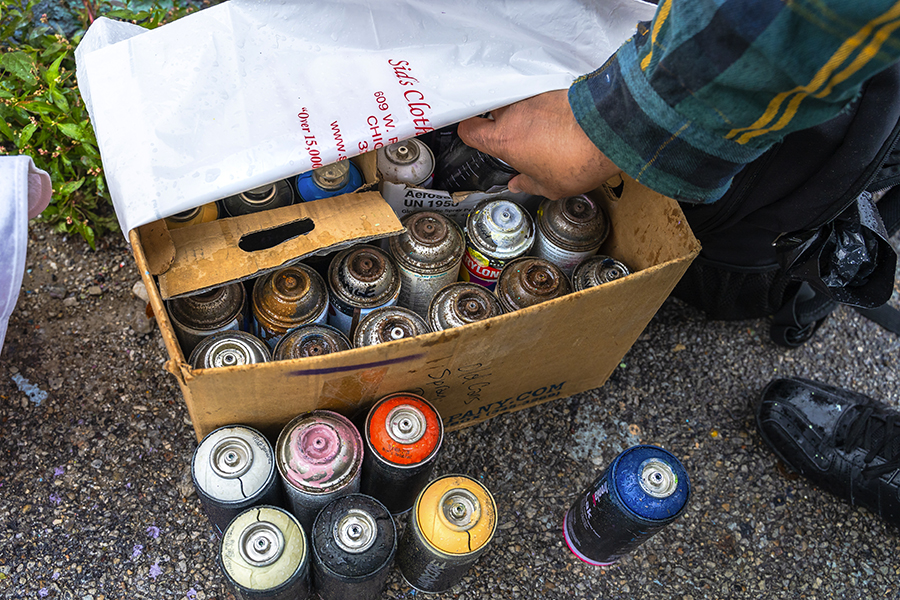 In Chicago, it's illegal to buy spray paint. But it's not illegal to own spray paint.