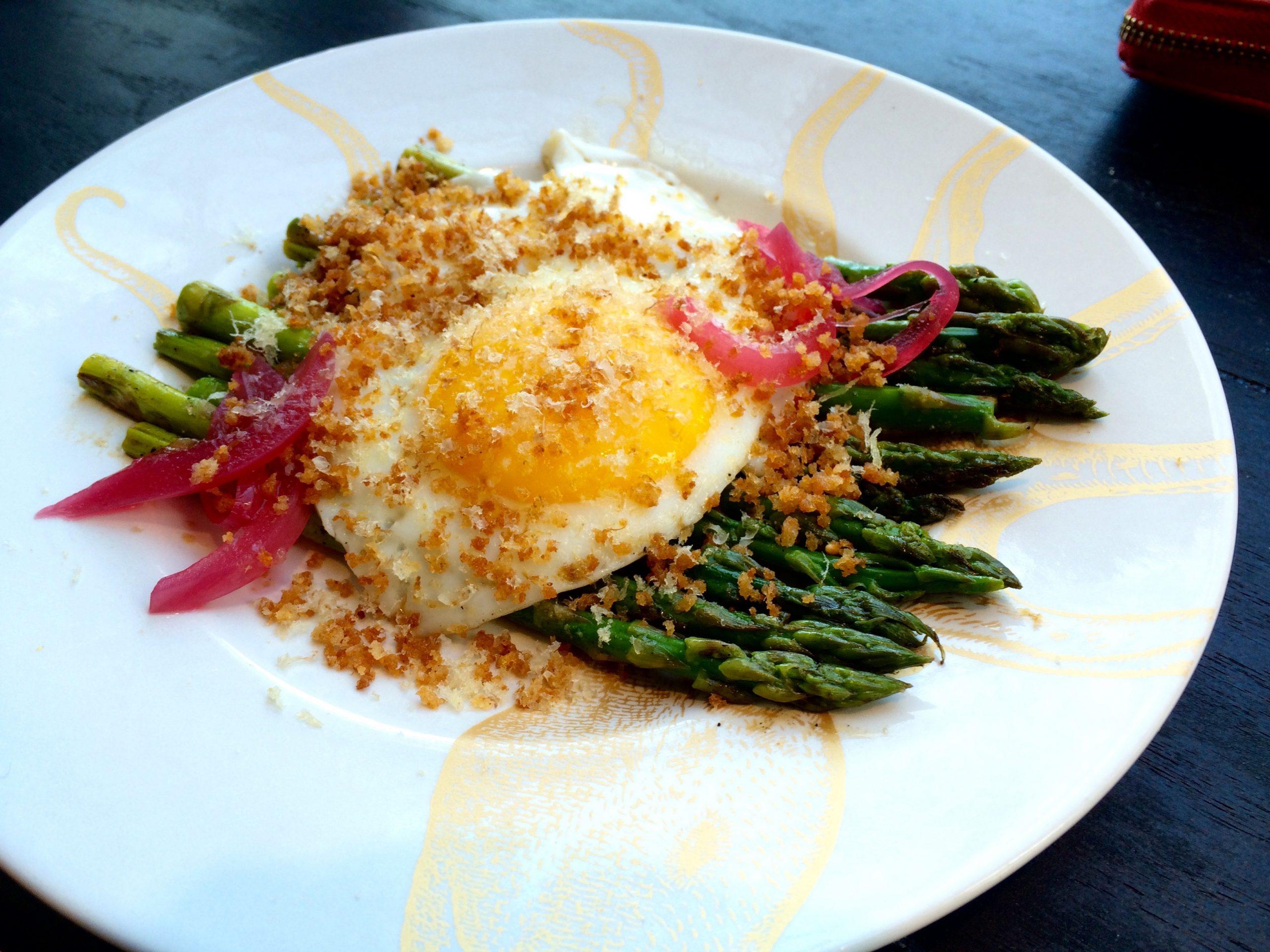 "Asparagus with hamachi ""bottarga"""