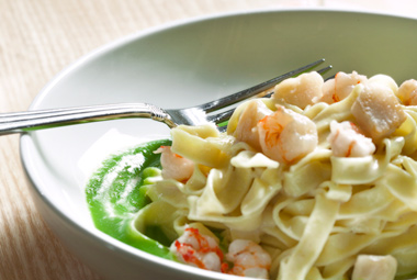 Tagliolini with rock shrimp, bay scallops, and pea puree