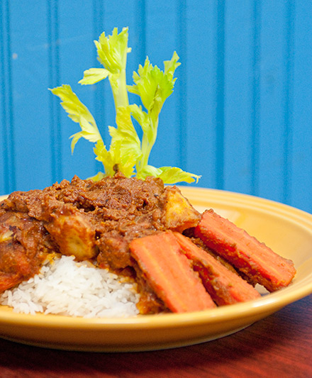 """Badara """"Badou"""" Diakhate's mafe, a peanut-based stew with fat chunks of chicken and lamb"""