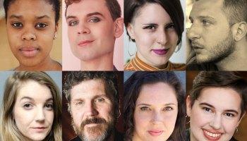 Playwrights for <i>Bechdel Fest 8: Realign</i> (clockwise from top left) Asha McAllister, Lane Anthony Flores, Brynne Frauenhoffer, Ismail Khalidi, Iris Sowlat, Jamie Olah, Robert Koon, and Keyanna Khatiblou