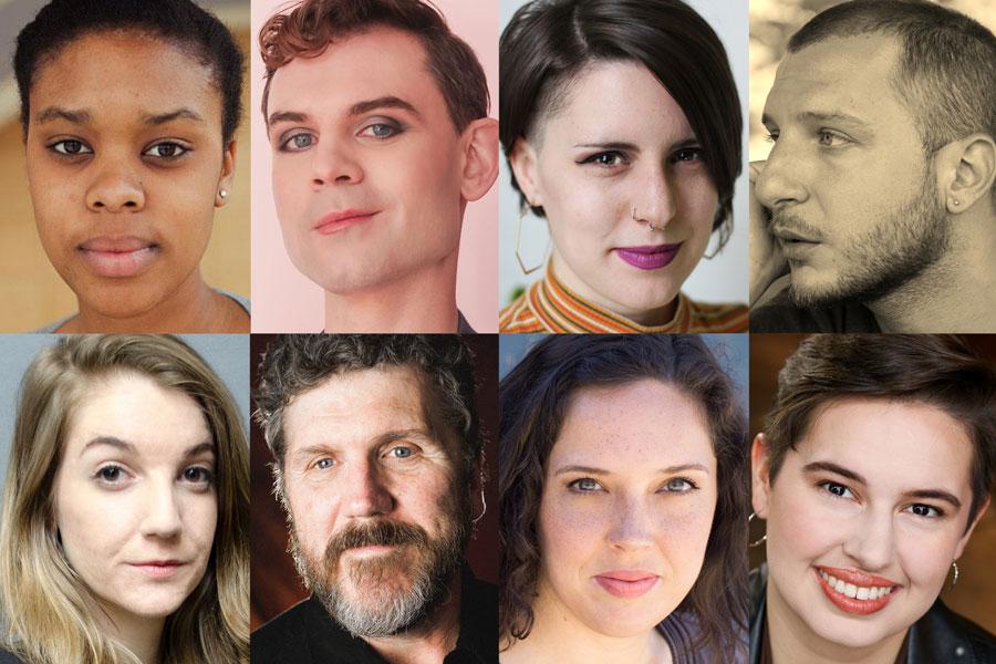 Playwrights for Bechdel Fest 8: Realign (clockwise from top left) Asha McAllister, Lane Anthony Flores, Brynne Frauenhoffer, Ismail Khalidi, Iris Sowlat, Jamie Olah, Robert Koon, and Keyanna Khatiblou