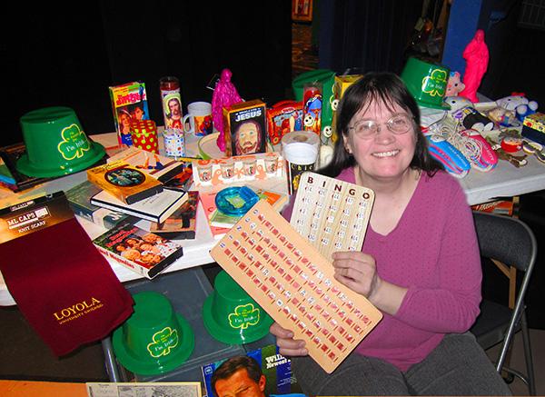 Vicki Quade with bingo prizes
